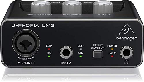 BEHRINGER Audio Interface, 1x XLR/TRS 1x 1/4 2X RCA USB, Black, 1-Channel (UM2)
