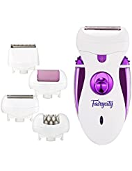 Fairycity Electric Epilator for Women Hair Remover Shaver Bikini Trimmer Ladies Razor Callus Remover 4 in 1 Rechargeable Flawless Hair Removal for Face Body Underarms Legs Feet