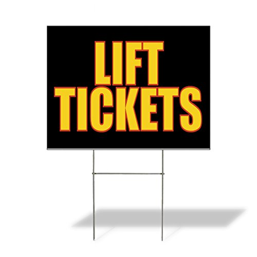 Lift Tickets Outdoor Lawn Decoration Corrugated Plastic Yard Sign - 18inx24in, Free Stakes