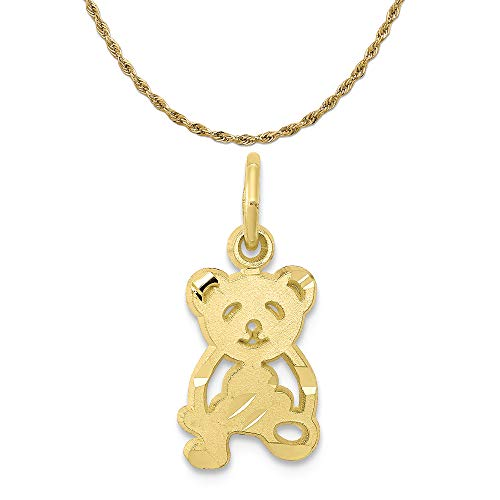 - Mireval 10k Yellow Gold Teddy Bear Charm on a 14K Yellow Gold Rope Chain Necklace, 18