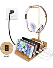 Yisen Handy Universal Wooden Game Earphone Headphone Stand Hanger(Removeble) with Cable Holder Multi Device Smartphone 3-Port USB Charging stations(with power switch and UK plug power cord)