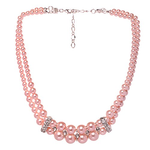 Veenajo Women's Elegant 2 Rows Simulated Pearl Strands Crystal Choker Necklace-pink
