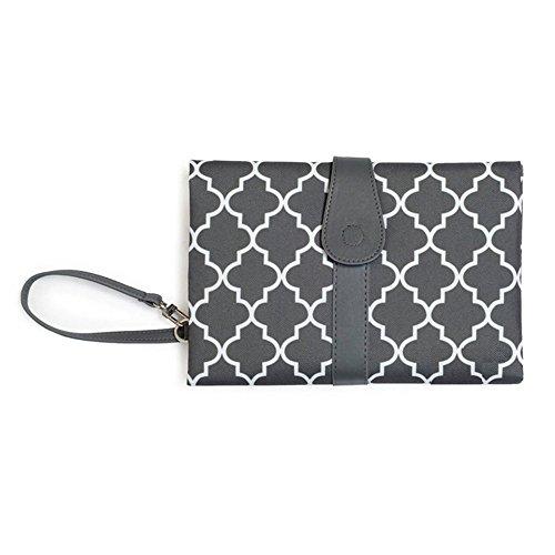 Portable del bolso de embrague para cambiar pañales Mat Mamá cambiar pañales practico kit de viaje (El negro)