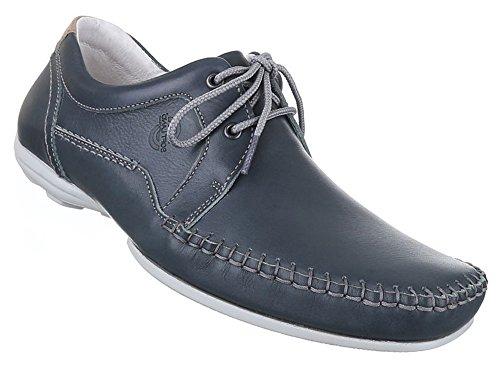 Herren Halbschuhe Schuhe Leder außen und innen Schnürschuhe blau schwarz weiss 41 42 43 44 45 46 47 Blau