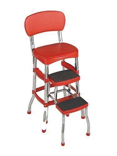 NEW RED Vintage Kitchen Retro Chair Bar Step Stool (Fabric Unfinished Chair)