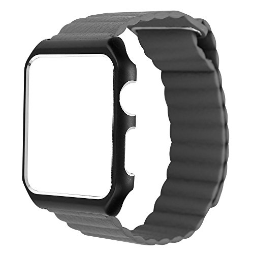 Apple Watch Band Series 1 Series 2, 42mm Leather Loop Magnetic Strap with Metal Case for Apple Watch All Models (Gray) by GUIGONG