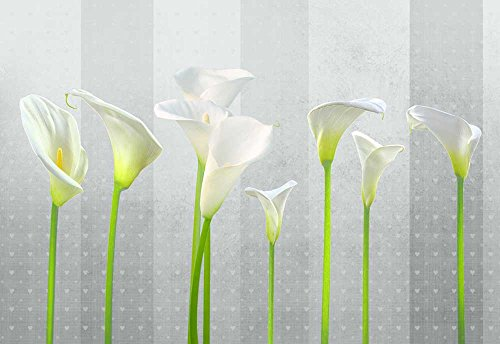 - Arum Lilies with Gray Striped Heart Textured Background - Wall Mural, Removable Sticker, Home