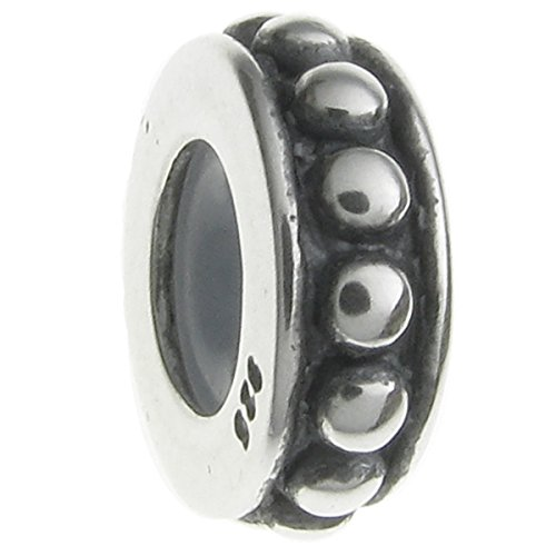 Sterling Silver Focal Round Dots Stopper with Rubber Bead for European Charm - Bead Dot Focal