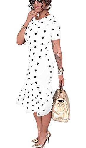 Bluewolfsea Mermaid Dot Vintage White Women Bodycon Retro Polka Dress Midi Cocktail Party Pencil TxfrTAHqw