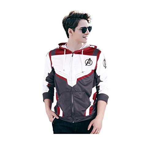 Superhero Cosplay Hoodie Quantum Hoodies 3D Printed Costume Zip Up Sweatshirt (Adults-M) Gray,White