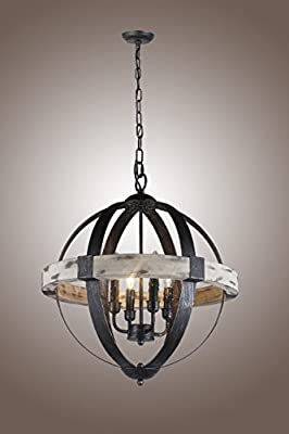 Castello Black Aspen Wrought Iron Globe Wood 4 Light Dia 20''' Chandelier