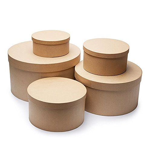 Factory Direct Craft Unfinished Round Graduated Size Paper Mache Boxes with Lids for Crafting - 5 Boxes by Factory Direct Craft