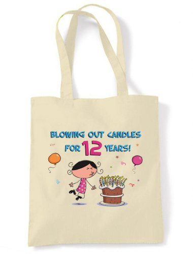 Birthday Bag Years Blowing Cream Out 12th Unbleached Tote Candles Cotton 12 Shoulder for rq4zYq1