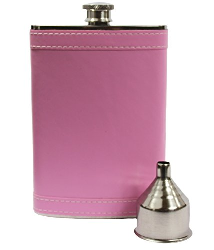 8oz Stainless Steel Primo 18/8#304 Pink PU Leather Premium/Heavy Duty Hip Flask Gift Set - Includes Funnel and Gift Box ()