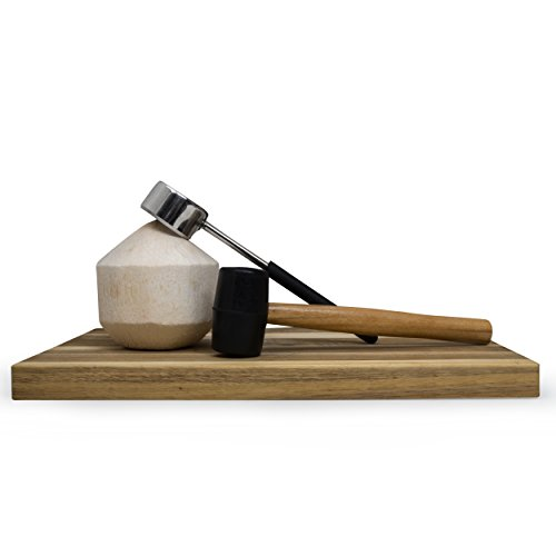 - DJM321 Premium Coconut Opener Tool Set - Safe and Easy - Stainless Steel Opener with Solid Wooden Mallet for Young Coconuts