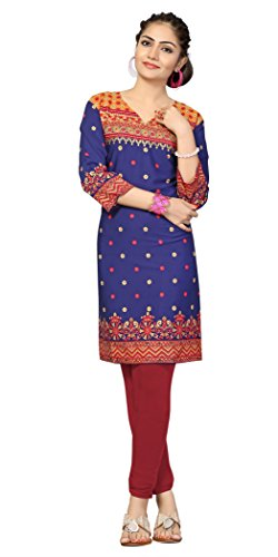 Indian Tunic Top Womens Kurti Printed Blouse India Clothing – Small, L 109