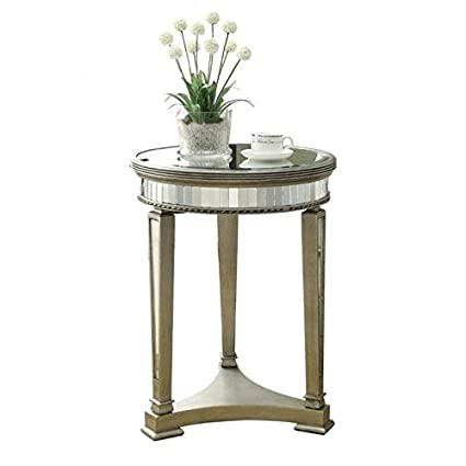 Amazon Com Bowery Hill 20 Round Mirrored Accent Table Kitchen