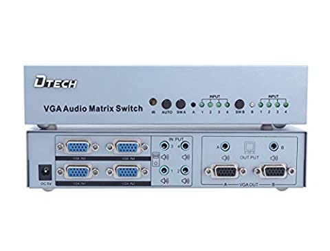 DTECH 4x2 VGA Video True Matrix with Audio Auto Switcher Splitter Box with Remote 1920x1440 (Audio De Auto)