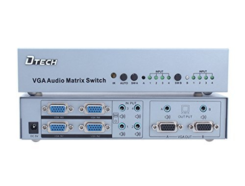 DTECH 4x2 VGA Video True Matrix with Audio Auto Switcher Splitter Box with Remote 1920x1440 Resolution