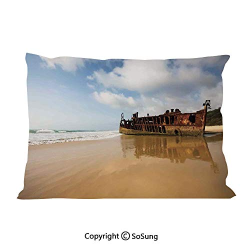 SoSung Ocean Decor Bed Pillow Case/Shams Set of 2,Antique Rusty Pirate Ship Wreck on The Coast in Caribbean Island Pacific Sea View Queen Size Without Insert (2 Pack Pillowcase 30