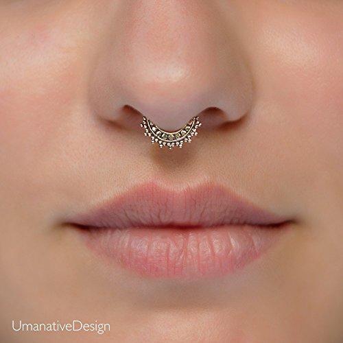 Tiny Fake Septum Nose Ring, Indian Tribal Style Faux Brass Clip On Non Pierced Septum Hoop, 18g, Handmade Designer Piercing Jewelry (Tribal Ring Fake Septum)