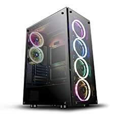 Please Note: The Tempered Glass is Tinted  FEATURES:  Color: BlackMaterial: SPCC 0.6mmMotherboard: ATX/ Micro ATX/Mini-ITX HDD*2, SSD*2Add-on card slot: 7Power supply:P/S-2, at bottomMax. VGA card: 359mmMax. CPU Cooler:174mmPower Supply:Botto...