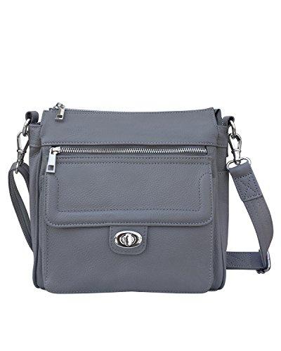 Roma Leathers Gun concealment Square Shoulder Bag - Detachable Strap, Metal Twist Lock, Card Compartments - Grey (Leather Twist Lock)