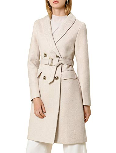 Allegra K Women's Double Breasted Shawl Collar Chevron Belted Long Winter Coat S Beige