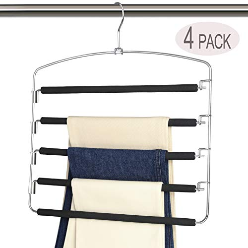 Magicool Space Saving Metal Pants Hangers(4 Pack) 5 Layers Skidproof Foam Padded with Swing Arm Closet Organizer for Pants Jeans Trousers Skirts Scarf Ties