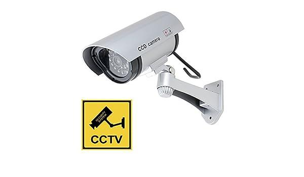 Amazon.com: eDealMax pistola simulada falsa seguridad de la vigilancia CCTV cámara domo al aire Libre de Interior Con UNA luz LED + Advertencia Alerta de ...