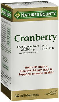 Nature's Bounty Cranberry Dietary Supplement 60 Soft Gels (Pack of 6)