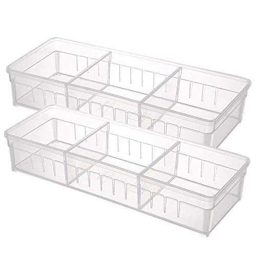 Drawer Organizer, Anumit Clear Plastic Storage Drawers with 2 Adjustable Drawer Dividers for Office, School, Kitchen, Dresser, Desk, Bedroom (2 Pack) by Anumit