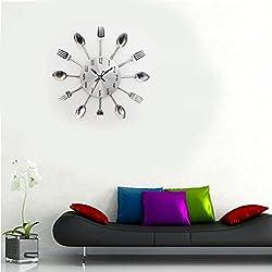 Sikye Wall Clock,Modern Design Cutlery Kitchen Utensil Wall Design Spoon Fork Pattern