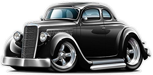 1934-36 Ford Coupe WALL DECAL 2ft long Colors Hotrod Race Drag Sport Classic Car Graphic Sticker Man Cave Garage Boys Room ()
