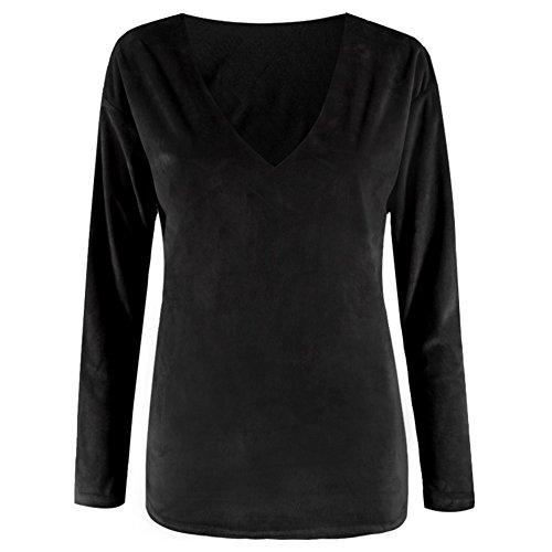 hibote pull col en v couleur en pull femme noire S
