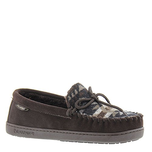 BEARPAW Mens Moc II Slipper Chocolate Aztec Size 9
