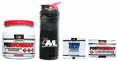 Advanced Molecular Labs Preworkout Fruit Punch Stimulant Free 20 Servings 18.6 oz./ 512 g With FREE Blender Bottle Shaker and 2 Sample Packs (Samples and Colors May Vary)