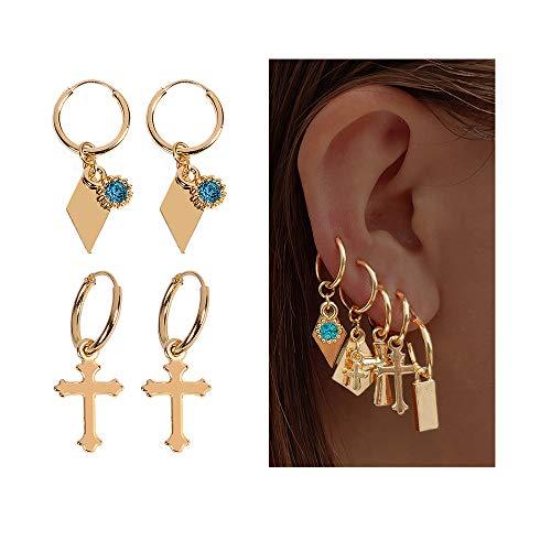 Tiny Small Hoop Huggie Earrings Set for Women, Moon Star Hoop Drop Dangle Earrings