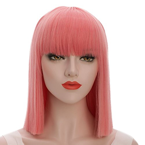 karlery Straight Short Hair Bob Wigs with Flat Bangs Synthetic Wigs for Women Natural As Real Hair (Pink)]()