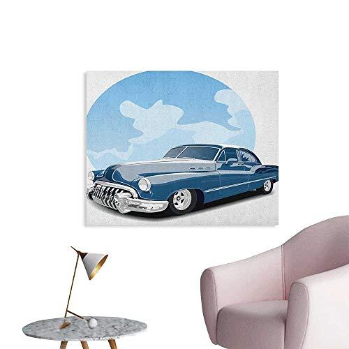 Anzhutwelve Cars Mural Decoration Old Timer Vintage Automobile Collectors Revival Nostalgia American Culture Art Poster Blue Pale Blue Black W36 xL32