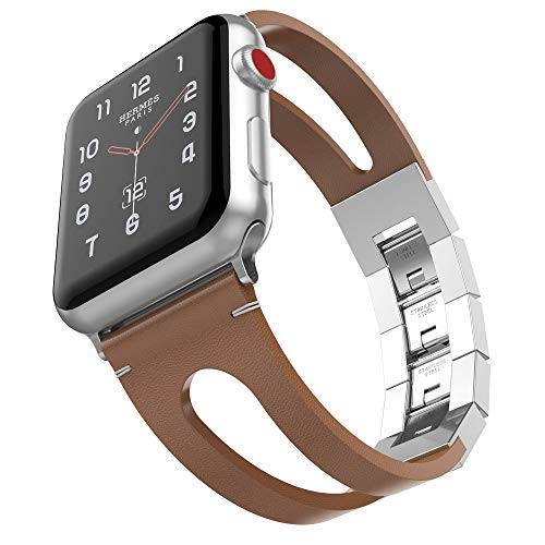 - Compatible with Apple Watch Band 44mm 42mm, UMTELE Vintage Genuine Leather Wristband with Stainless Steel Folding Clasp Replacement Band Compatible for Apple Watch Series 4/3/2/1 44mm 42mm