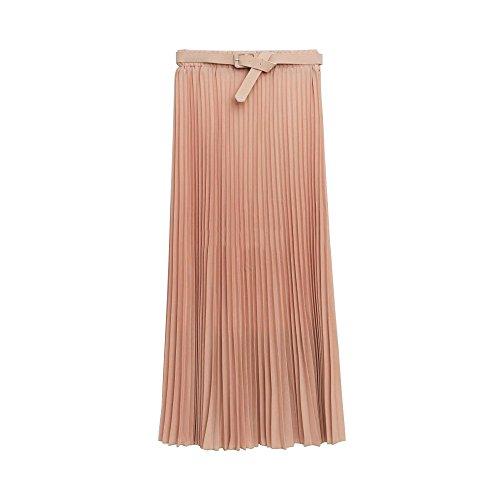 Falda larga de chifón estilo retro con tejido elástico Rosa
