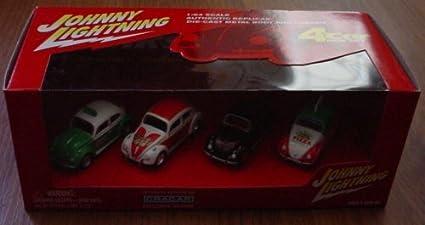1 Johnny Lightning 1966 Volkswagen Beetle 4 Car Box Set