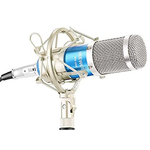 Neewer® NW-800 Microphone Set Including (1)NW-800 Professional Condenser Microphone + (1)Microphone Shock Mount + (1)Ball-type Anti-wind Foam Cap + (1)Microphone Power Cable (Blue) - Inoltre Pickup