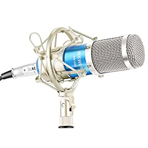 Neewer NW-800 Microphone Set Including (1) NW-800 Professional Condenser Microphone + (1) Microphone Shock Mount + (1) Ball-type Anti-wind Foam Cap + (1) Microphone Power Cable (Blue),40087778
