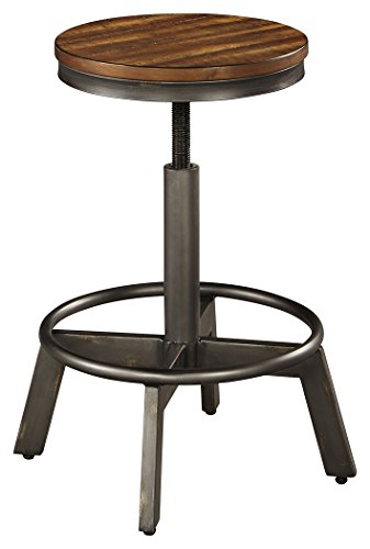 Acacia Wood Bar - Ashley Furniture Signature Design - Torjin Barstools - Counter Height - Set of 2 - Industrial Style - Gray/Brown