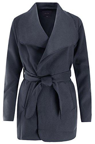 Ladies' Code Short Fleece Draped Open Front Waterfall Belted Wrap Coat Dark Gray L Size -