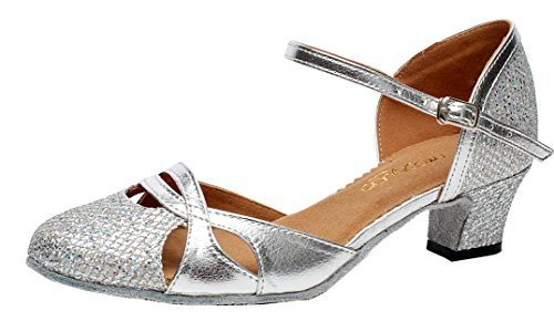 Abby AQ-7007 Womens Latin Tango Ballroom Party wedding Block Heel Round-toe PU Dance-shoes Silver US Size10.5