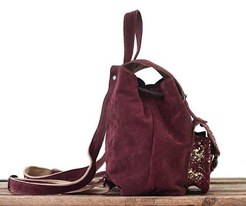 nubuck de petit MARIUS vachette en suédé PAUL BAROUDEUR vintage cuir LE dos Prune sac style à wzqZgav