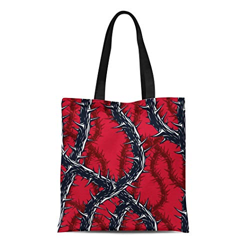 Semtomn Canvas Bag Resuable Tote Grocery Adorable Shopping Portablebags Horror Blackthorn Branches with Thorns Endless Hard Rock and Heavy Metal Natural 14 x 16 Inches Canvas Cloth Tote -